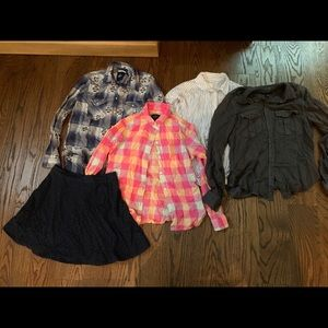 American Eagle flannel shirts and Hollister skirt